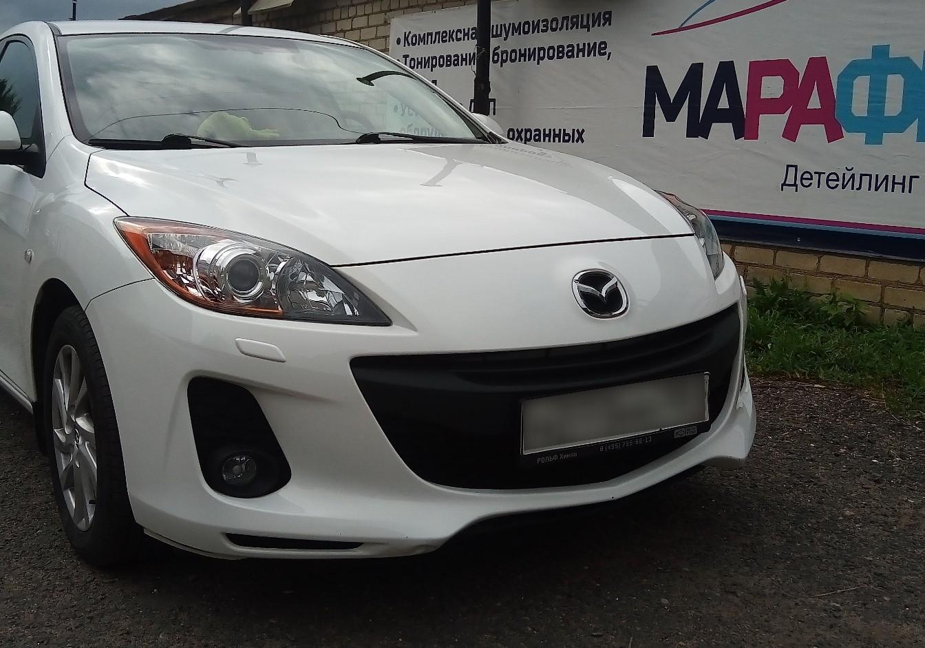 Кузовной ремонт белой Mazda 3